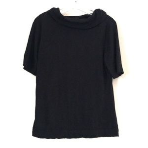 Ann Taylor Cowl Neck 1/2 Sleeve Black Sweater